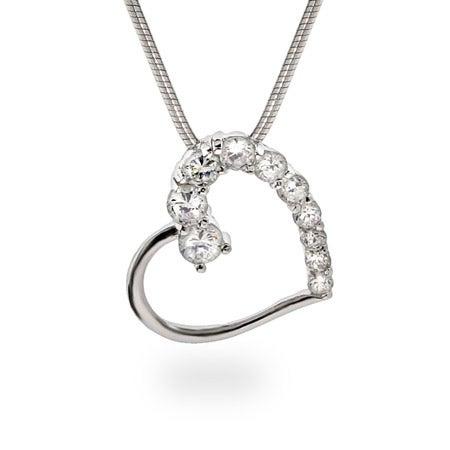 Silver Diamond CZ Heart Journey Necklace
