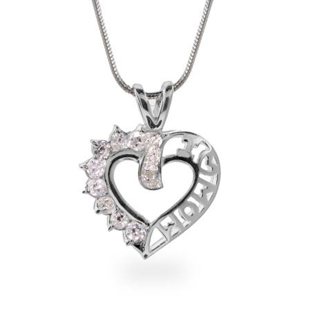 I Love Mom CZ Heart Sterling Silver Necklace