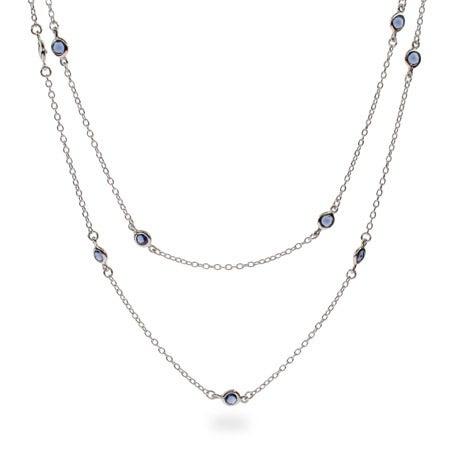 36 Inch Sapphire CZ Studded Chain | Eve's Addiction