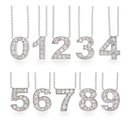 Sterling Silver Lucky CZ Number Necklace