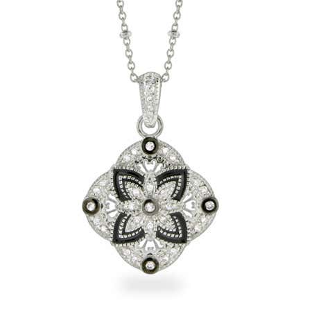 Vintage Style Black and Silver CZ Pendant