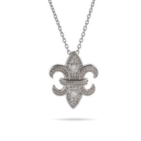 CZ Fleur de Lis Silver Pendant