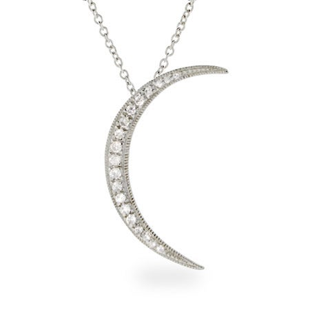 Sterling Silver Crescent CZ Moon Pendant