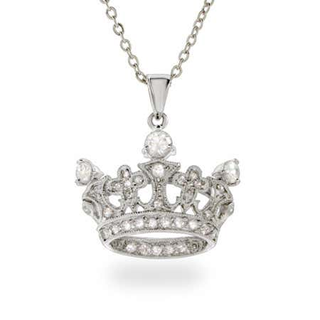 Sterling Silver CZ Crown Necklace