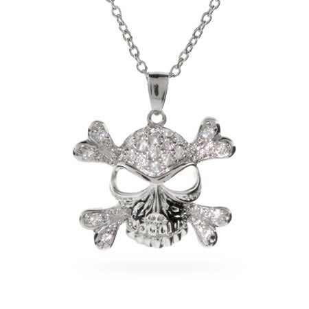 Pave White CZ Skull and Crossbones Necklace