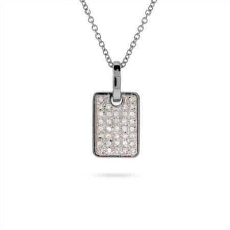 Pave CZ Sterling Silver Dog Tag Pendant