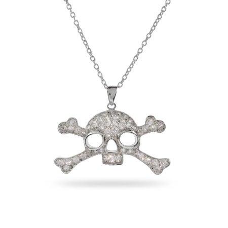 Pave CZ Pirate Skull & Crossbones Pendant