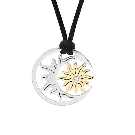 Sterling Silver Golden Sun and Moon Necklace