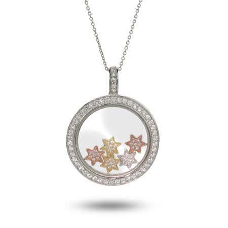 Designer Inspired Floating CZ Stars Circle Necklace