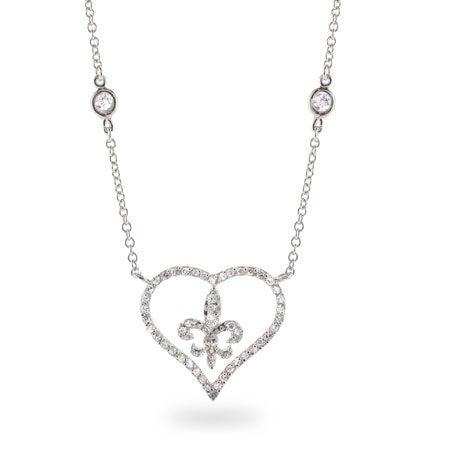 Diamond CZ Heart with Fleur de Lis Necklace
