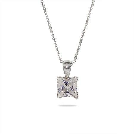 Solitaire Sparkling Princess Cut CZ Silver Necklace