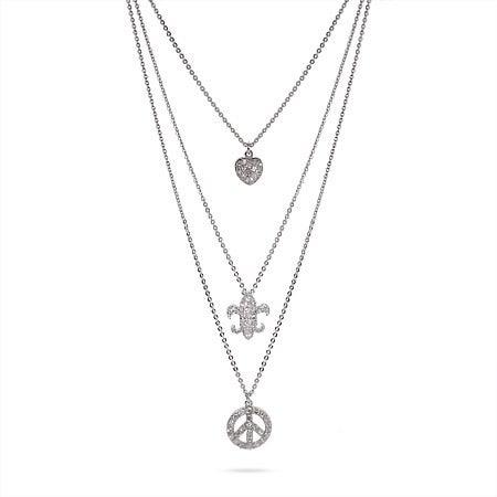 Fleur De Lis, Heart, and Peace Sign Triple Charm Necklace