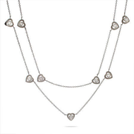 "Designer Style 36"" Hearts by the Yard CZ Studded Chain"