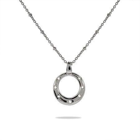 Designer Style Sterling Silver Twinkling O Pendant