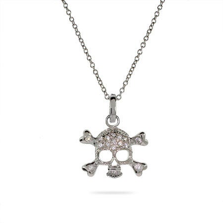 Celebrity Style Pave CZ Skull and Crossbones Necklace