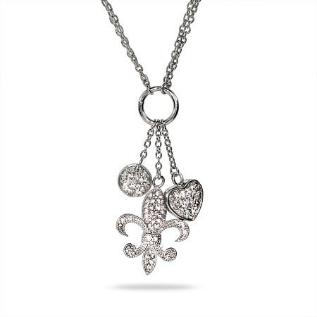 Fleur de Lis, Heart, and Circle CZ Multi Charm Necklace