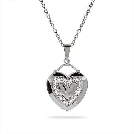 Double CZ Hearts Sterling Silver Pendant | Eve's Addiction®