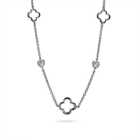 Designer Style Silver Four Petal & Hearts Necklace
