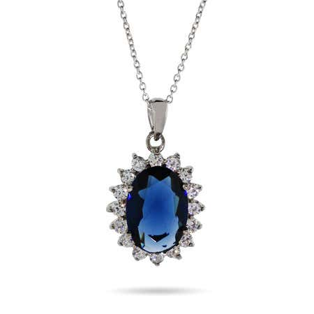 display slide 1 of 1 - Sapphire CZ Necklace - selected slide