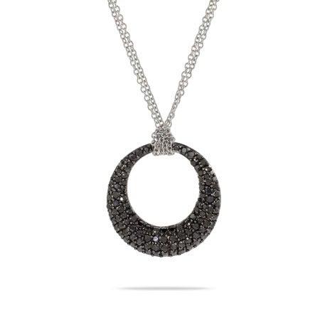 Black Pave CZ Double Strand O Necklace