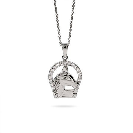 Sterling Silver CZ Horse and Horseshoe Necklace