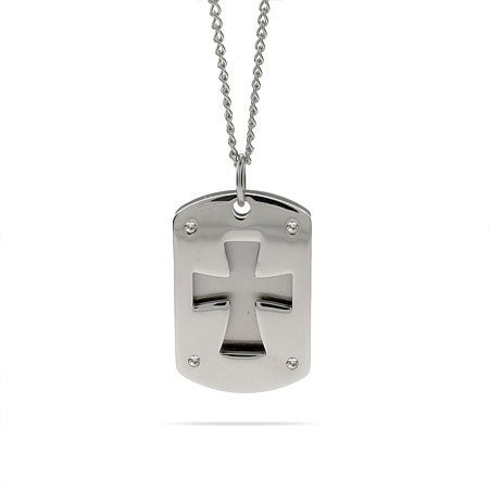 Engravable Double Cross Dog Tag Pendant | Eve's Addiction®