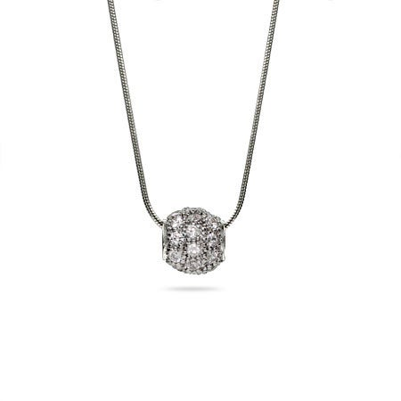 Single Simple Shimmering CZ Bead Pendant