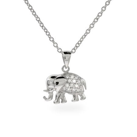 Diamond CZ Silver Elephant Necklace