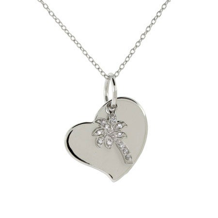Engravable Sterling Silver Palm Tree Heart Charm Pendant