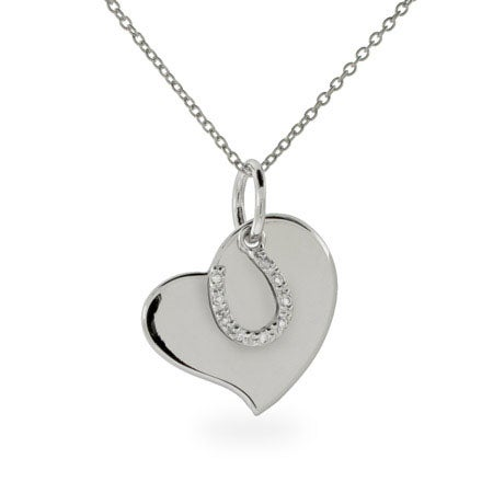 Engravable Horseshoe & Heart Charm Necklace | Eve's Addiction®