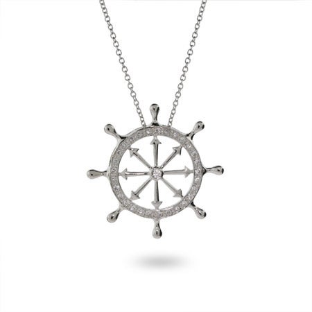 Sterling Silver CZ Ships Wheel Pendant
