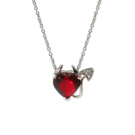 Sterling Silver Ruby CZ Devilish Heart Pendant