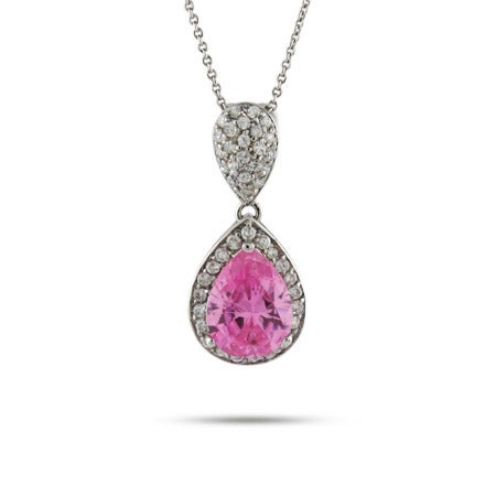 Celebrity Inspired Pink Peardrop CZ Necklace