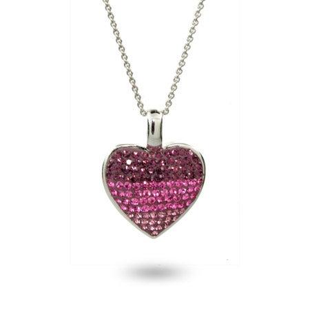 Pink & Purple Swarovski Crystal Sterling Silver Heart Pendant