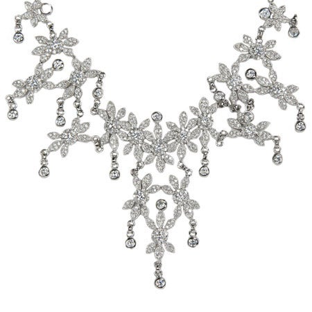 Red Carpet Style CZ Flower Sterling Silver Necklace