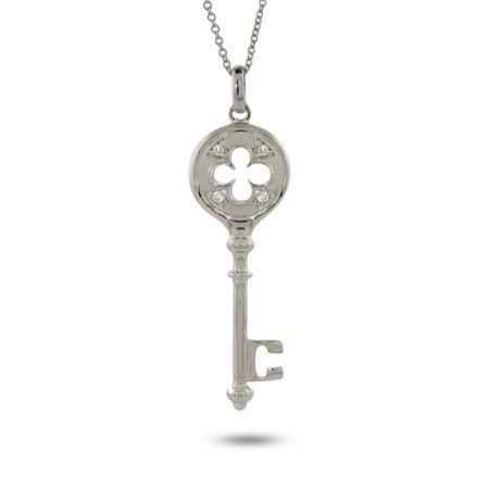 Designer Style CZ Clover Key Pendant | Eve's Addiction®