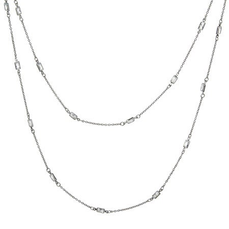 "Sterling Silver 36"" CZ Baguettes Studded Chain 