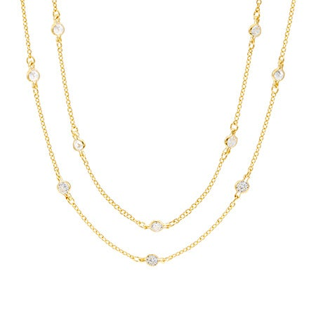 "Gold Vermeil 60"" CZ Studded Chain Necklace 
