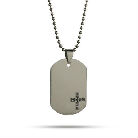 Engravable Black CZ Cross Dog Tag | Eve's Addiction