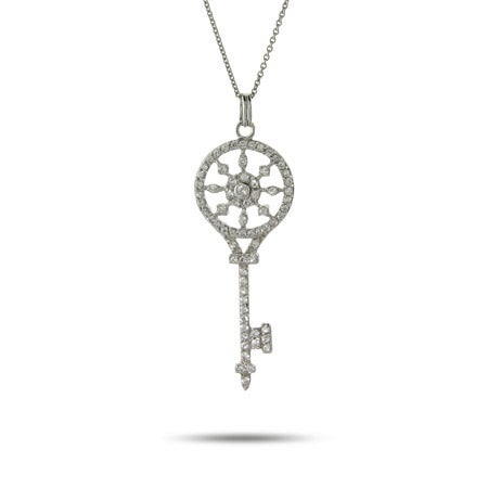 Sterling Silver and CZ Vintage Key Pendant | Eve's Addiction®