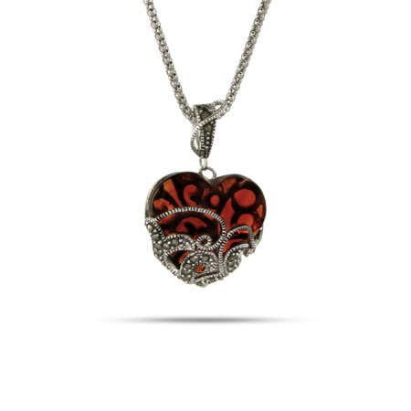 Vintage Style Garnet Glass Heart Marcasite Pendant