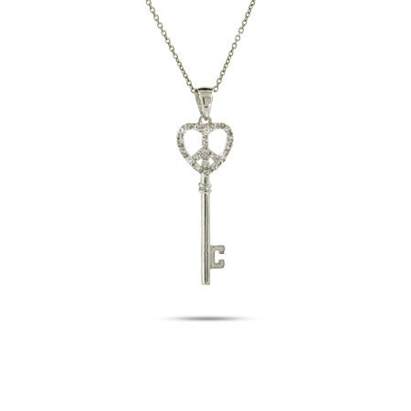 Silver CZ Peaceful Heart Key Pendant