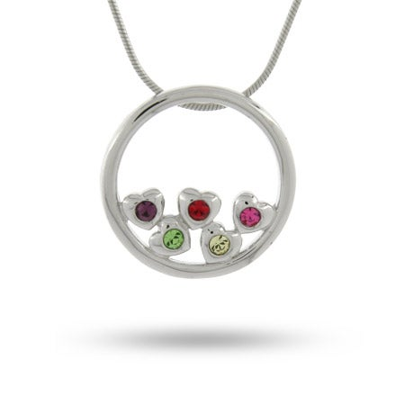 5 Birthstone Circle of Hearts Sterling Silver Mother's Pendant