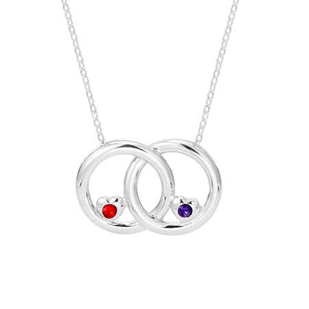 2 Stone Silver Infinity Circle Couples Birthstone Necklace