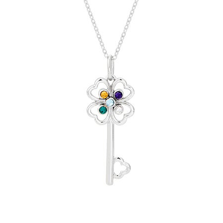 5 Stone Four Leaf Clover Sterling Silver Key Pendant