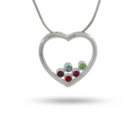 5 Stone Sterling Silver Birthstone Open Heart Pendant