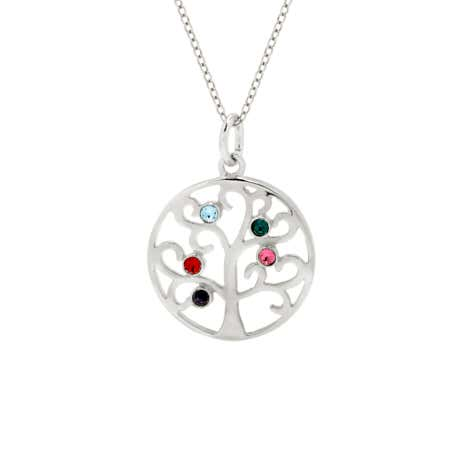 display slide 1 of 4 - 5 Birthstone Family Tree Pendant in Sterling Silver - selected slide