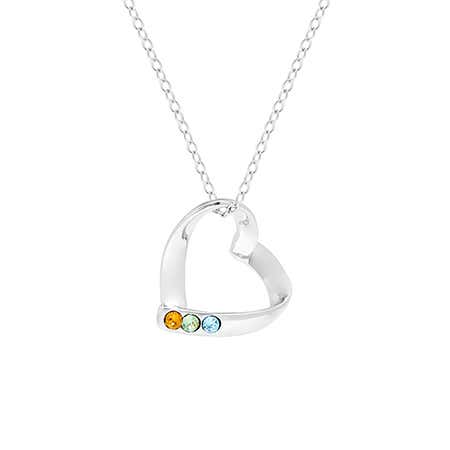 Heart Mother's Pendant with 3 Custom Birthstones | Eve's Addiction
