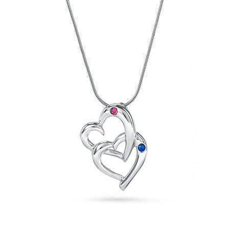 Double Hearts Austrian Crystal Couples Birthstone Pendant