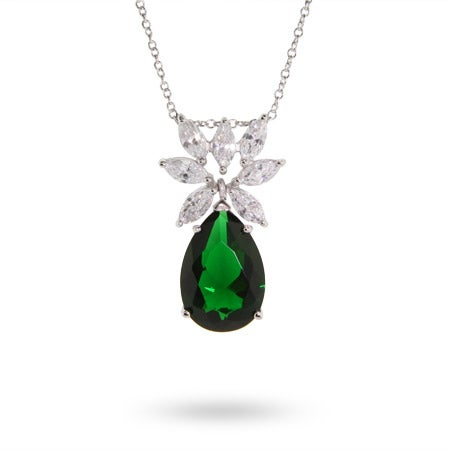 Fancy CZ Peardrop Sterling Silver Emerald Necklace